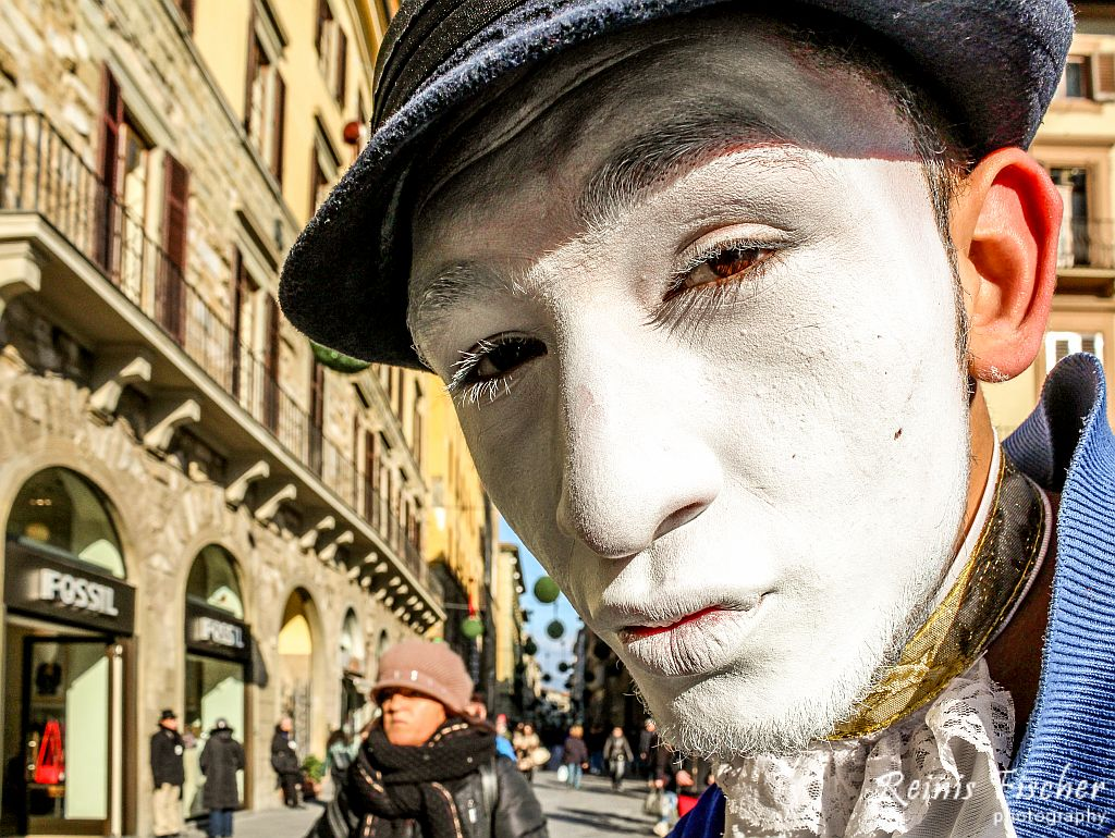 Mime posing for a shot in Florence