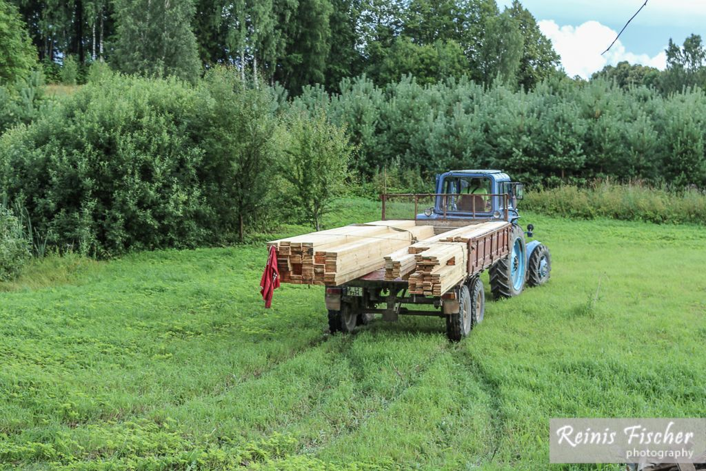 Tractor arrived with construction materials