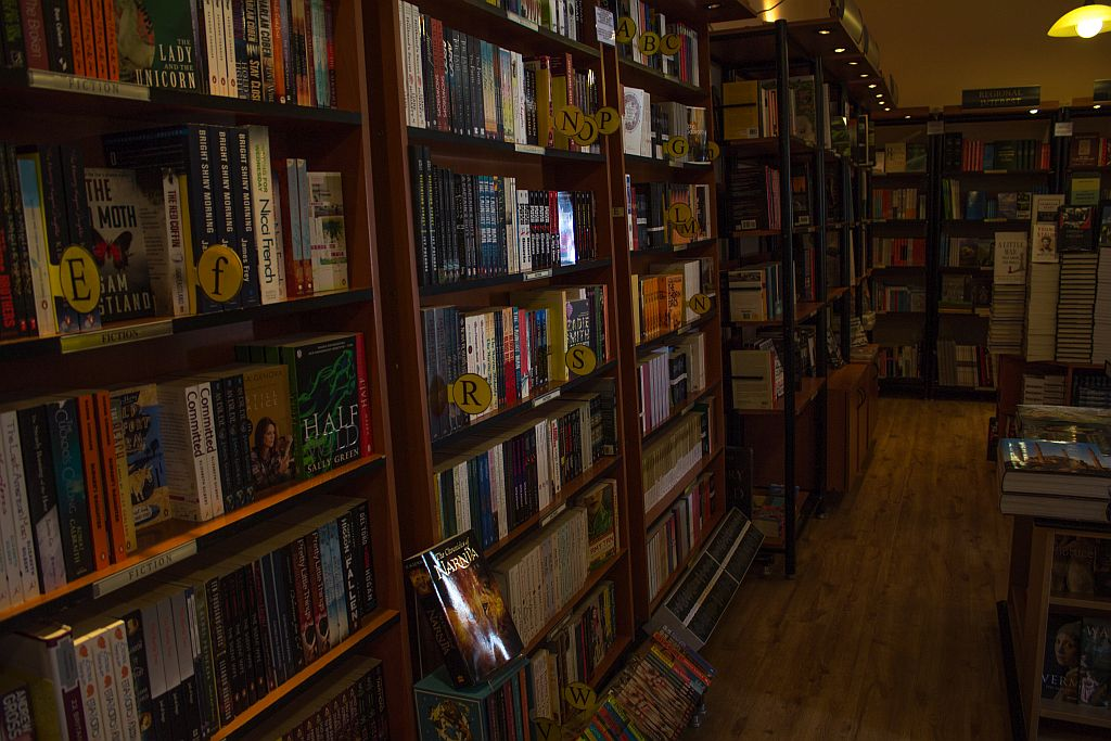 Bookshelves at Prospero's bookstore in Tbilisi