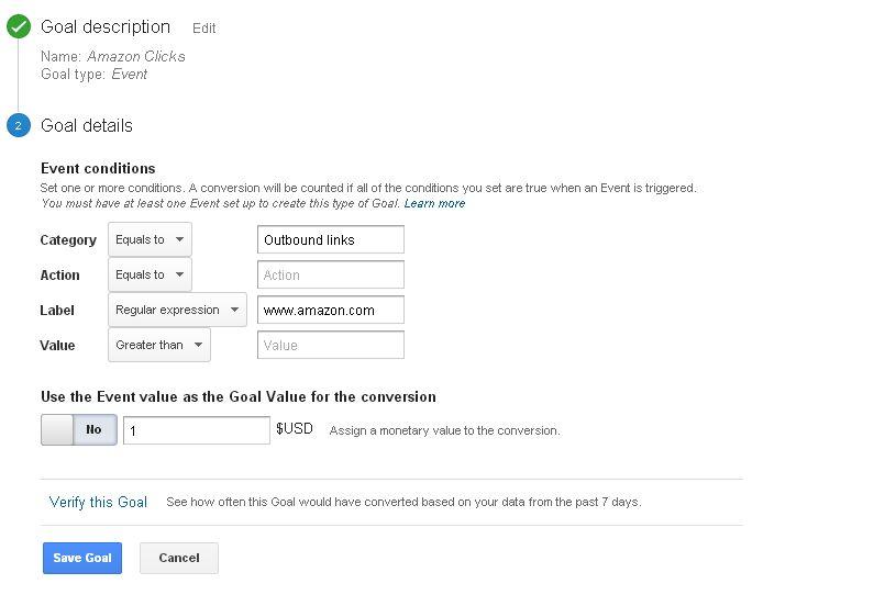 How To Setup Google Analytics Amazon Click Goal