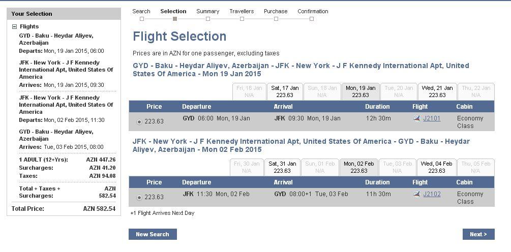 Baku NYC flights