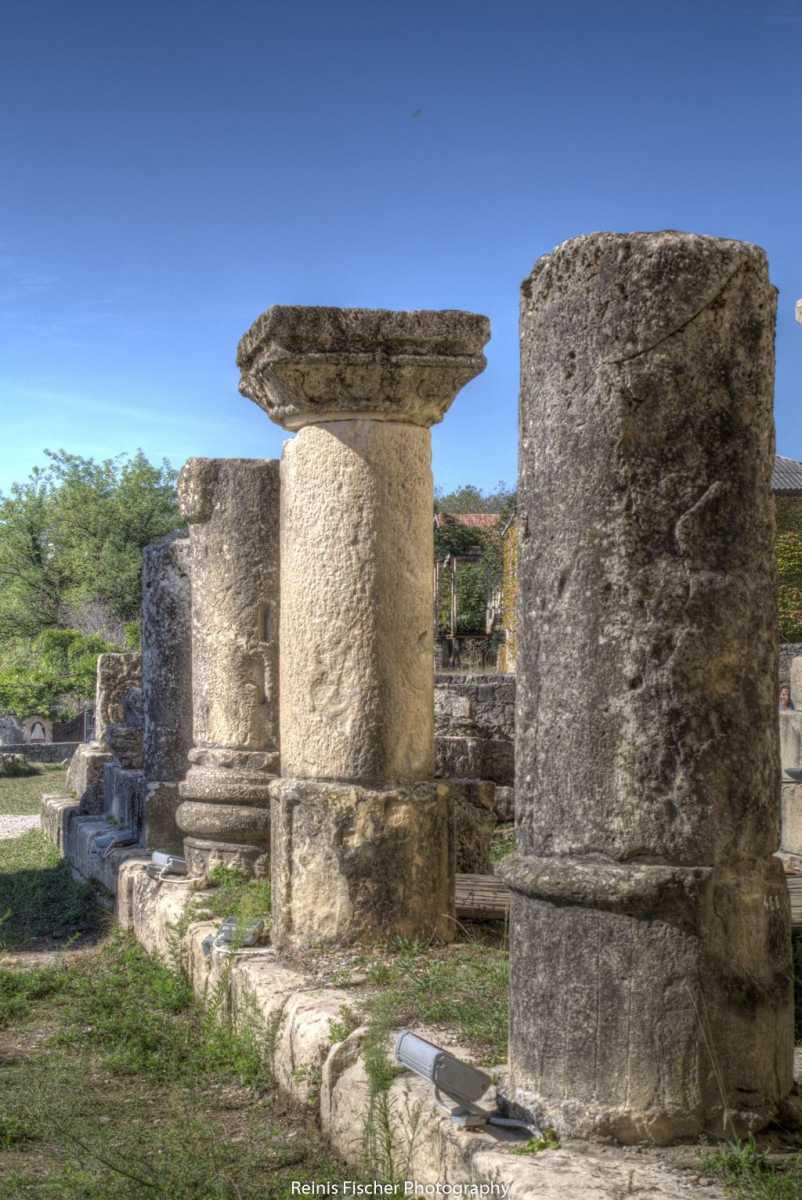 Old stone pillars at Bagrati cathedral