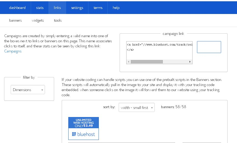 Bluehost link section