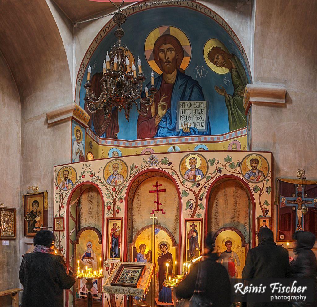 Inside Saint Ekvtime Takaishvili church in Tbilisi