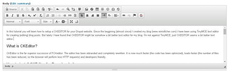 CKEditor WYSIWYG text editor