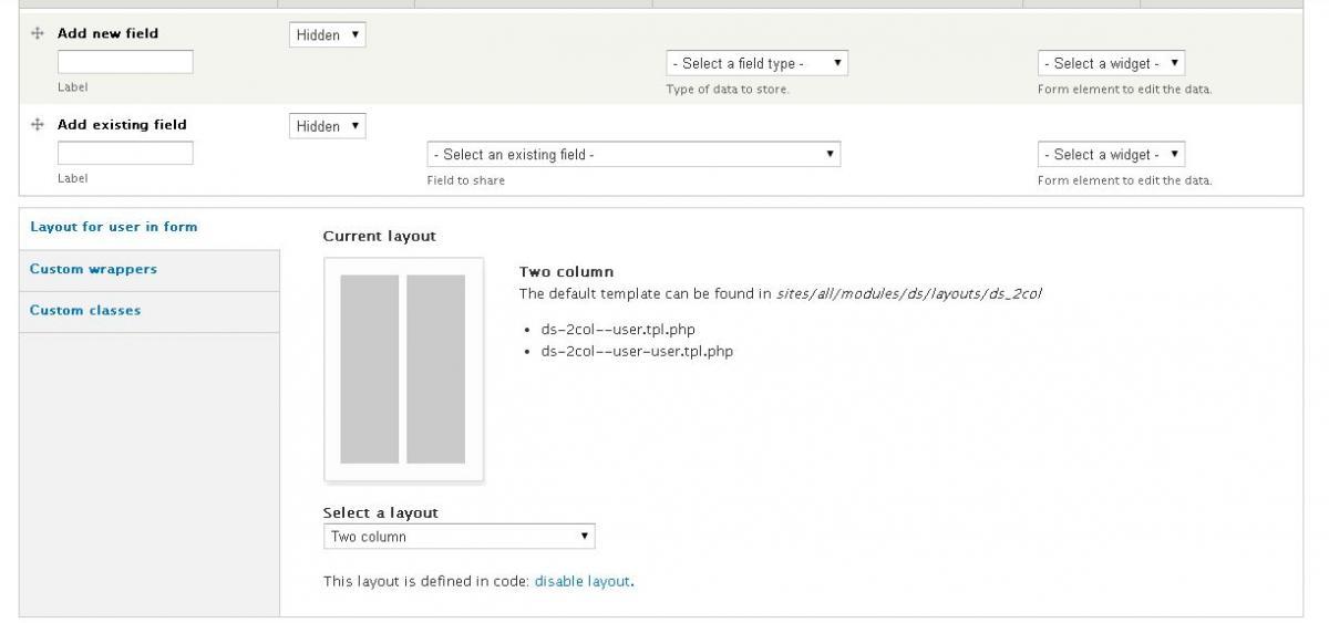 Drupal Display Suites edit form