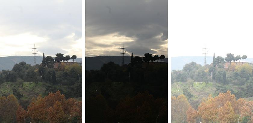 3 different exposure settings