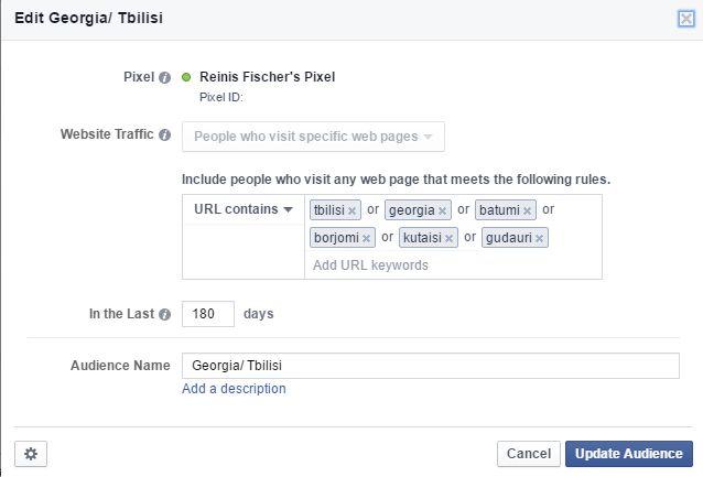 Facebook Custom Audience with URL parameters