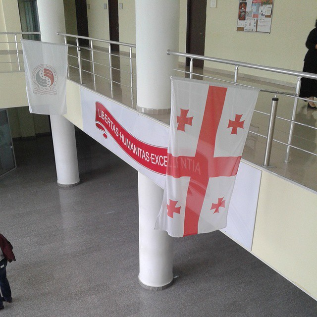 Georgian Flag at the main entrance of The University of Georgia