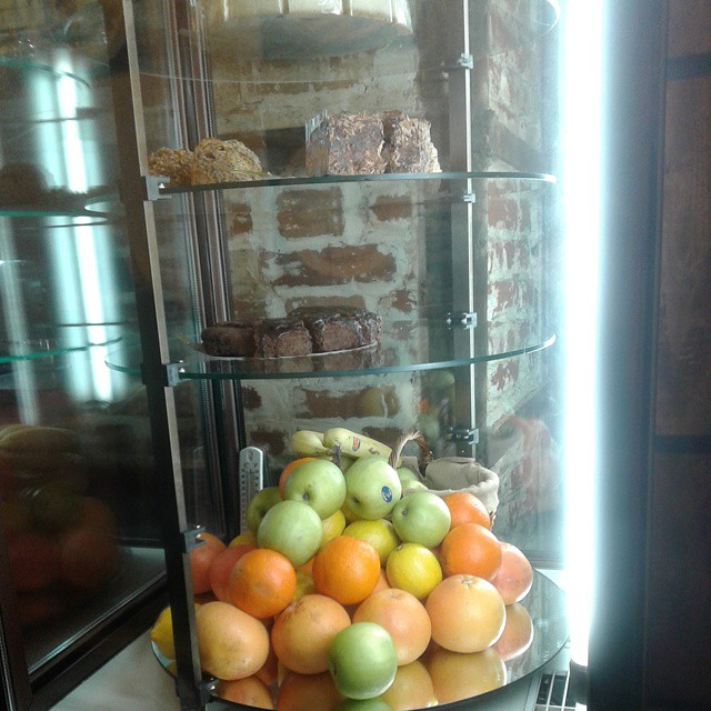 Sweets and fruits in a glass case