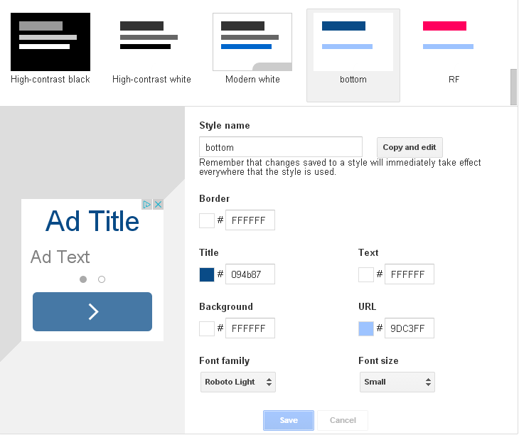 Google Adsense Ad styles