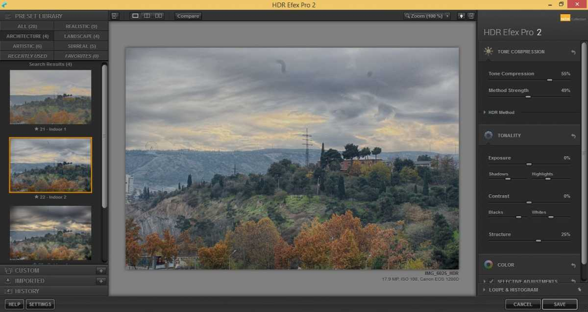 Editing HDR image in HDR Efex PRO
