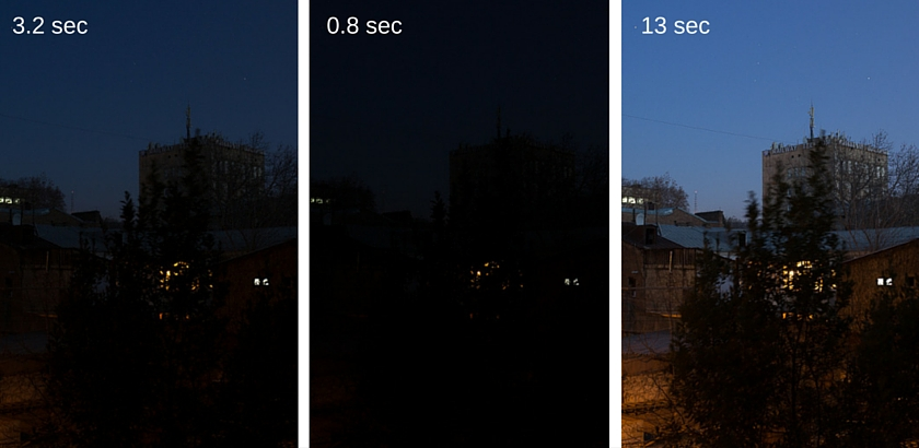 Three different exposures for night HDR photography
