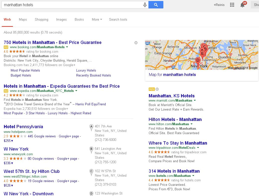 """Google Search Query for """"Manhattan hotels"""""""