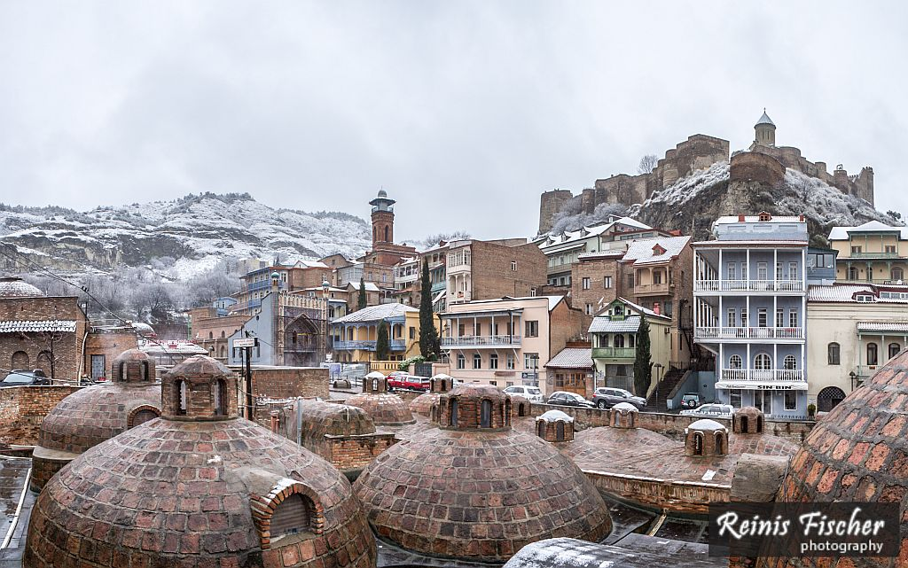 Panorama of Tbilisi Old town in Winter