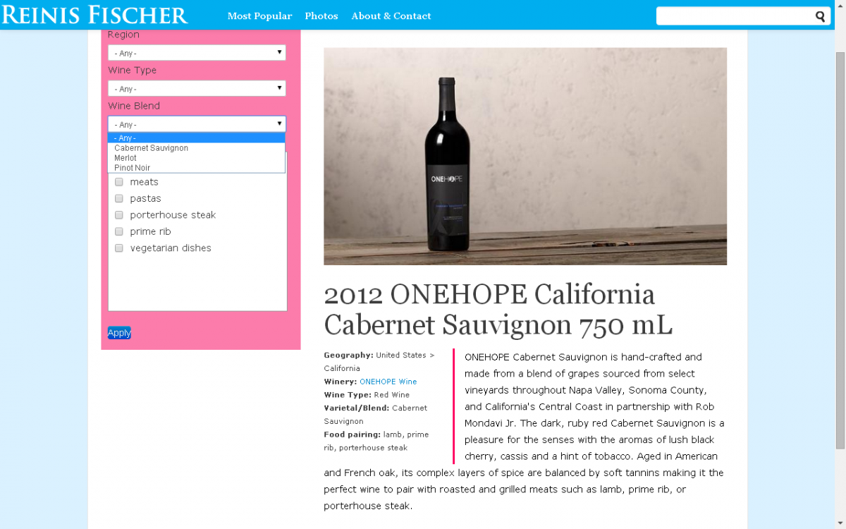 Print Screen for proposed wine section on my blog