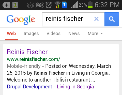 Google search page indicates Mobile Friendly