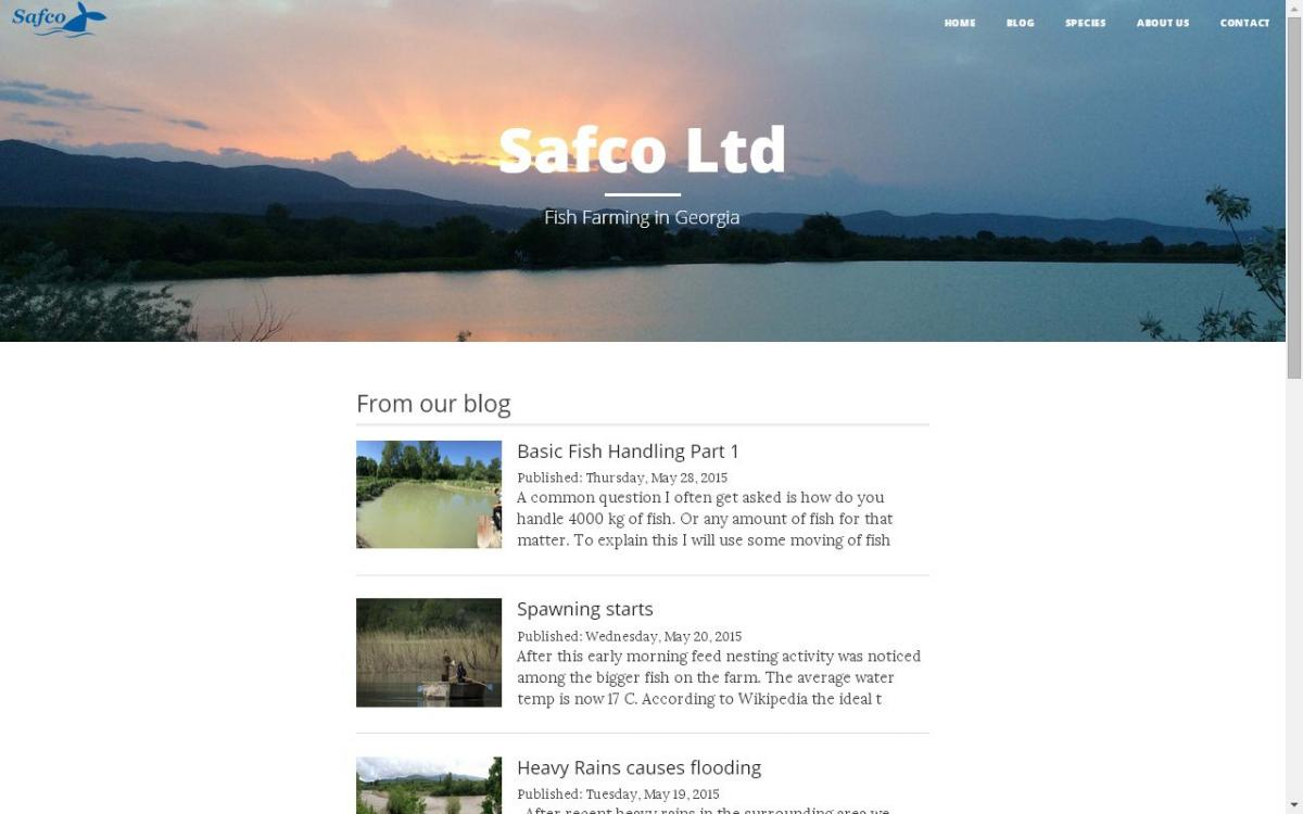 Safco-Fish.GE Front page