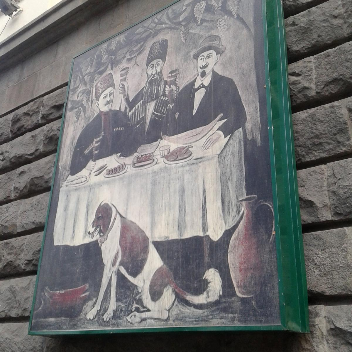 Painting outside restaurant