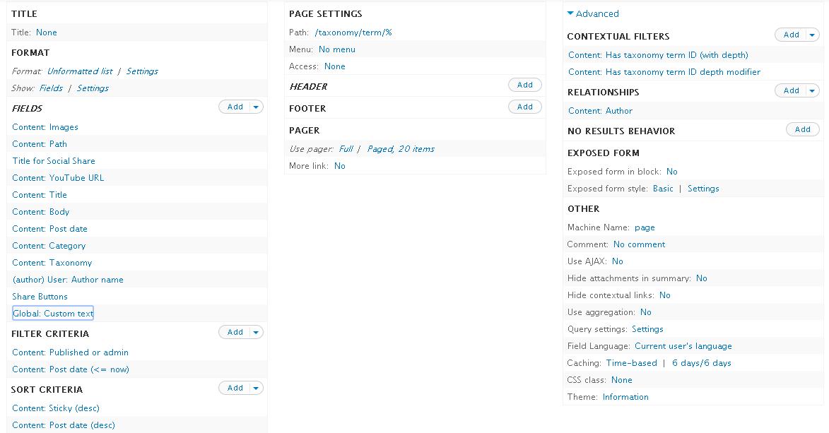 Drupal Views Taxonomy Term page