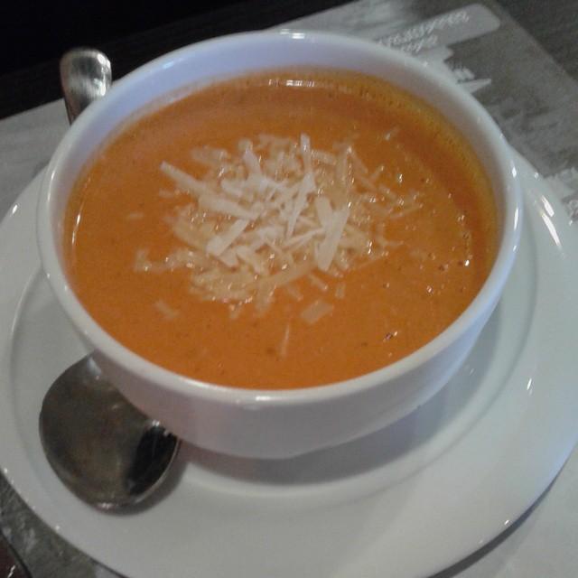 Tomato cream soup with parmesan crisps