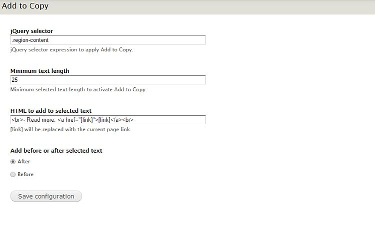 Add to Copy configuration screen