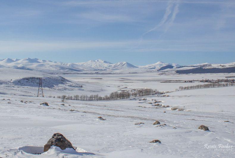 Tsalka reservoir in winter