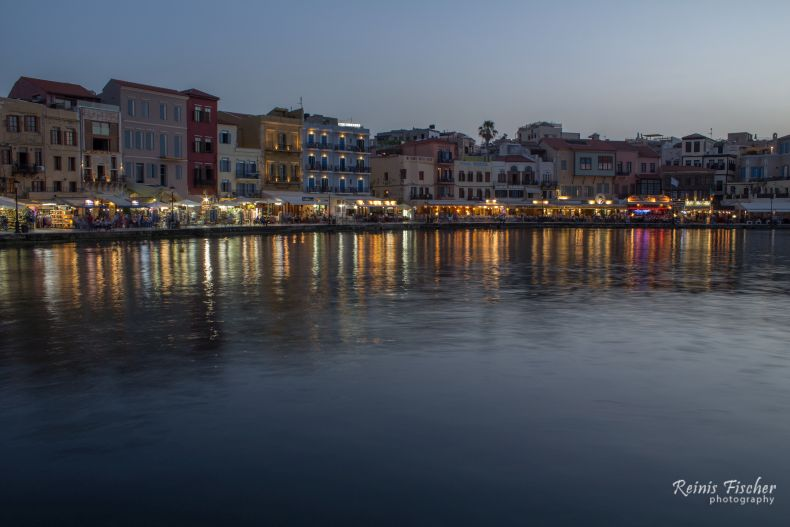 Lively Chania promenade with lots of cafeterias