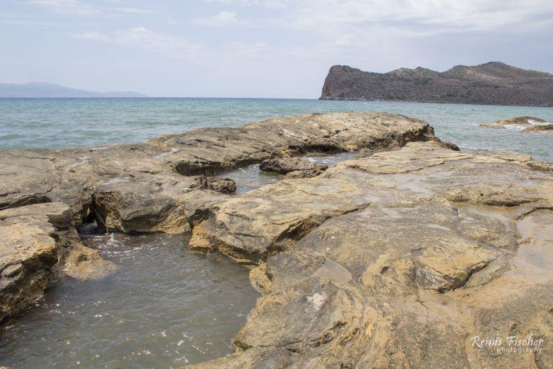 Rock formations near Agia Marina beach in Crete