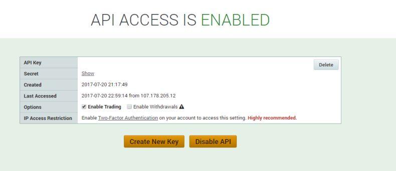 API settings for Poloniex.com